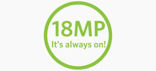 18 megapixels - It's ALWAYS ON!